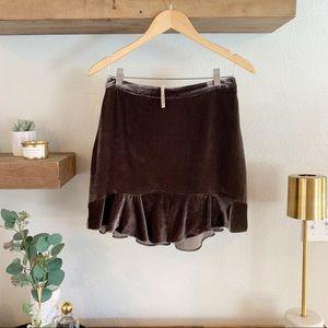 Madewell Velvet Ruffle Hem Skirt